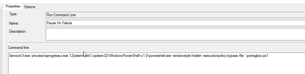 Powershell: Pause SCCM Task Sequence with Message Box, Auto